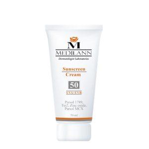 کرم ضد آفتاب رنگی SPF50 مدیلن مناسب پوست های معمولی و خشک