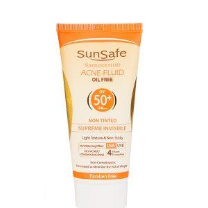 فلوئید ضد آفتاب بی رنگ SPF 50 سان سیف سری Acne Fluid