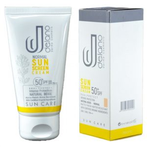 کرم ضد آفتاب رنگی SPF50 دلانو مناسب پوست های نرمال و خشک