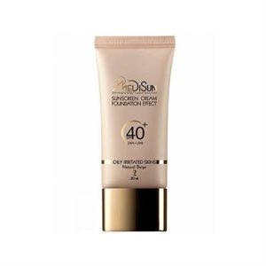 کرم ضد آفتاب کرم پودری SPF 40 مدیسان مناسب پوست چرب